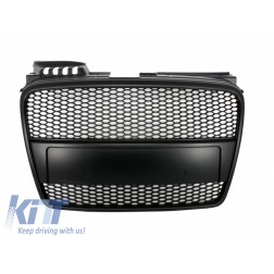 Badgeless Front Grille suitable for AUDI A4 B7 (2004-2008) RS4 Matte Black