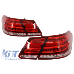 LED Light Bar Taillights suitable for MERCEDES E-Class W212 (2009-2013) Conversion Facelift Design Red Clear