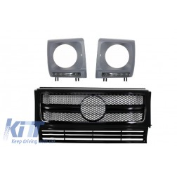Assembly Grille with LED Headlights Covers suitable for Mercedes G-Class W463 (1990-2012) New G63 G65 Design Black