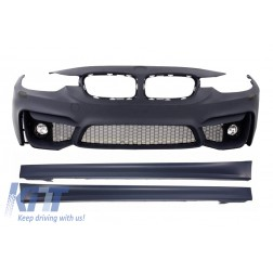 Front Bumper with Fog Lamps and Side Skirts suitable for BMW 3er F30 F31 (2011-up) M3 Design