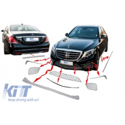 Body Kit Package Ornaments Chrome Moldings suitable for Mercedes S-Class W222 (2013-up) S65 Design