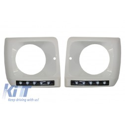 Headlights Covers WHITE with LED DRL Daytime Running Lights suitable for Mercedes G-Class W463 (1989-2012) G65 Design