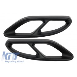 Black Muffler Tips Covers suitable for MERCEDES C-Class W205 S65 E65 GLE W166 X166 GLC W253 Sport Design