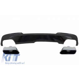 Double Outlet Air Diffuser Brilliant Black Edition with Exhaust Muffler Tips Sport M-Tech 550i Design suitable for BMW F10 F11 2011-2017