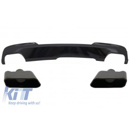 Double Outlet Air Diffuser Exhaust Muffler Tips Black Edition Sport M-Tech 550i Design suitable for BMW F10 F11 2011-2017