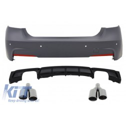 Rear Bumper M-Technik with Valance Diffuser Single/Double Outlet Piano Black Exhaust Muffler Tips Black M Performance suitable for BMW 3 Series F30 (2011+)