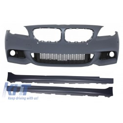 Front Bumper with Side Skirts suitable for BMW F10 F11 5 Series (2011+) M-Technik Design Without Fog Lamps