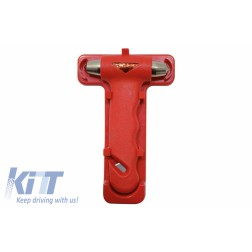 Emergency hammer with belt cutter, color: red