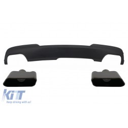 Double Outlet Air Diffuser with Black Exhaust Muffler Tips Sport M-Tech 550i Design suitable for BMW F10 F11 2011-2017