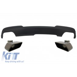 Double Outlet Air Diffuser with Black Exhaust Muffler Tips Sport M-Teck 550i V8 LCI Square suitable for BMW F10 F11 2011-2017