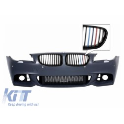 Front Bumper M-Technik Design Without Fog Lamps with Central Grilles 3 Colors M-Power suitable for BMW 5 Series F10 F11 LCI 2015+