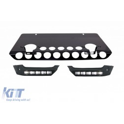 Front Bumper Spoiler LED DRL Extension Skid Plate Off Road Package Under Run Protection suitable for MERCEDES G-class W463 (89-17) Shiny Black Edition