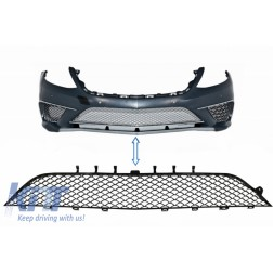 Front Bumper Central Lower Grille suitable for MERCEDES Benz S-Class W222 S63 Design Piano Black