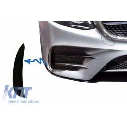 Front Bumper Flaps Side Fins Flics suitable for MERCEDES E-Class W213 S213 C238 A238 E43 E53 Design Black Edition