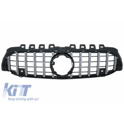 Central Grille suitable for Mercedes A-Class W177 Hatchback /  V177 Sedan (04.2018-) GT-R Panamericana Design Black / Chrome