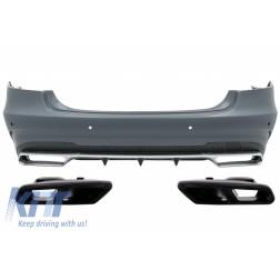 Rear Bumper with Exhaust Muffler Tips Black Edition suitable for MERCEDES E-Class W212 Facelift (2013-2016) E63 Design