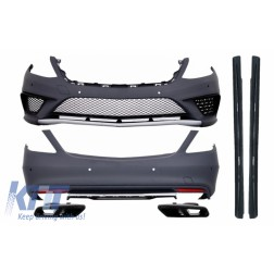 Body kit suitable for Mercedes S-Class W222 (2013-06.2017) with Exhaust Muffler Tips Black S63 Look