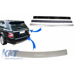 KIT Rear Bumper Protector Foot Plate and Trunk Tailgate Suitable for Range ROVER Sport L320 (2005-2011) Aluminum Autobiography Look