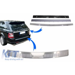 KIT Rear Bumper Protector Foot Plate and Trunk Tailgate Suitable for Range ROVER Sport L320 (2005-2011) Chrome Autobiography Look