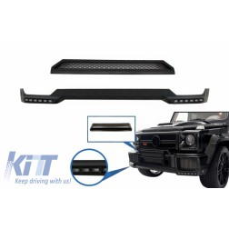 Front Bumper Spoiler LED DRL Extension and Upper Spoiler Lip suitable for Mercedes G-Class W463 (1989-2017) Black