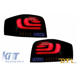 carDNA Full LED Taillights suitable for AUDI A3 8P1 Hatchback (2003-2008) Black/smoke Light Bar Design With Dynamic Sequential Turning Light