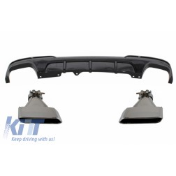 Double Outlet Air Diffuser suitable for BMW 5 Series F10 F11 (2011-2017) with Exhaust Muffler Tips M-Performance Design Piano Black