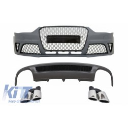 Front Bumper suitable for AUDI A4 B8 Facelift (2012-2015) with Rear Bumper Valance Air Diffuser and Exhaust Muffler Tips Tail Pipes RS4 Design