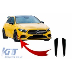 Front Bumper Flaps Side Fins Flaps suitable for MERCEDES A-Class W177 V177 (04.2018-up) A35 Design Black Edition