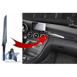 Car Center Console Dashboard Strips Interior Trim Suitable for Mercedes-Benz C-Class W205 (2014-2018) GLC X253 (2015-2018) Carbon Fiber Style LHD