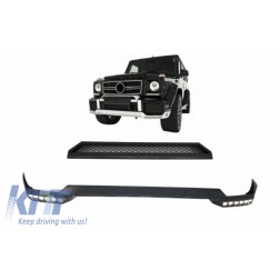 Front Bumper Spoiler LED DRL Extension and Upper Spoiler Lip suitable for Mercedes G-Class W463 (1989-2017)