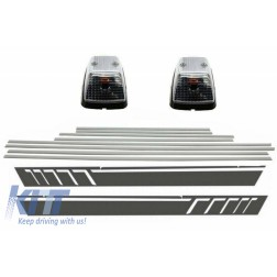 Add On Door Moldings Strips Brushed Aluminum with Side Decals Sticker Vinyl Dark Grey and Turning Lights suitable for MERCEDES G-class W463 (1989-2015)