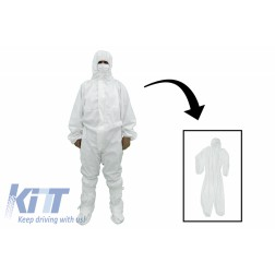 Coverall Overall Dustproof Workwear Jumpsuit Cotton and Polyethylene with Hood Washable size M, Waterproof, Washable