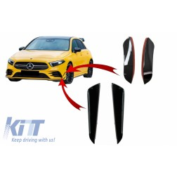 Kit Front Bumper Flaps Side Fins Flaps suitable for MERCEDES A-Class W177 V177 (04.2018-up) A35 Design Black Edition