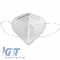 KN95 White Triangle Face Mask 5 Layers Unisex Disposable with Bending Metal Strip