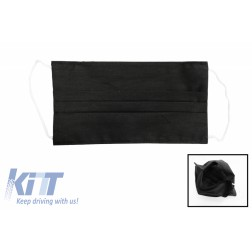Package of 5 Black Reusable Masks with Folds 100% Cotton 2 Layers Unisex Washable 5 Filters PPS 330 Microns