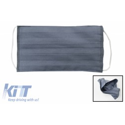 Package of 5 Grey Reusable Masks with Folds 100% Cotton 2 Layers Unisex Washable 5 Filters PPS 330 Microns