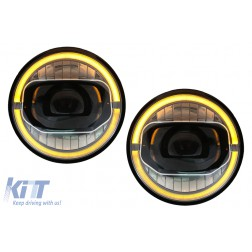 7 Inch CREE LED Headlights DRL Angel Eye Amber suitable for JEEP Wrangler JK (2007-2017) conversion to 2018 model