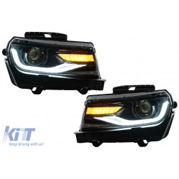 Headlights LED DRL suitable for Chevrolet Camaro (2014-2015) Sequential Amber Dynamic Turning Lights Conversion to 2016 Look