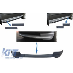 Dynamic Front Bumper Lower Lip Spoiler suitable for Land Rover Freelander 2 L359 Facelift (2011-2014) and Car Front/Rear Side Skirts Door Panels Left & Right
