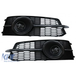 Bumper Lower Grille ACC Covers Side Grilles suitable for AUDI A6 C7 4G S Line Facelift (2015-2018) Black Edition