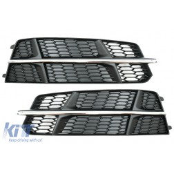 Bumper Lower Grille Covers Side Grilles suitable for AUDI A6 C7 4G S Line Facelift (2015-2018) Black&Chrome