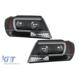 Headlights Angel Eyes suitable for Jeep Grand Cherokee (1999-2004) Tube Light Black
