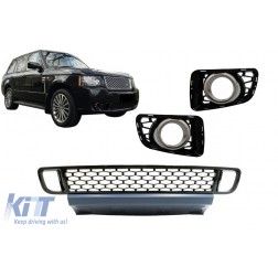 Front Bumper Lower Grille with Fog Lamp Covers suitable for Land Range Rover Vogue III L322 (2010-2012) Autobiography Design Black