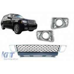 Front Bumper Lower Grille with Fog Lamp Covers suitable for Land Range Rover Vogue III L322 (2010-2012) Autobiography Design Chrome
