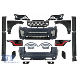 Complete Body Kit with LED Headlights and Taillights suitable for Range Rover Sport L494 (2013-2017) Conversion to 2019 SVR Design