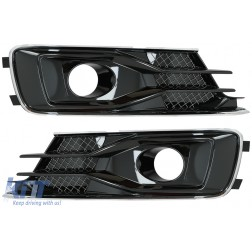 Bumper Lower Side Grilles Fog Lamp Covers suitable for AUDI A6 C7 4G Facelift (2015-2018) Black Edition