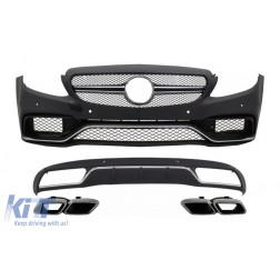 Front Bumper & Diffuser with Muffler Tips Chrome suitable for Mercedes C-Class W205 S205 (2014-2018) C63 Design