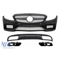 Front Bumper & Diffuser with Muffler Tips Black suitable for Mercedes C-Class W205 S205 (2014-2018) C63 Design