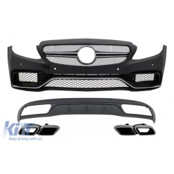 Front Bumper & Diffuser with Muffler Tips Chrome suitable for Mercedes C-Class W205 S205 (2014-2018) C63 Look