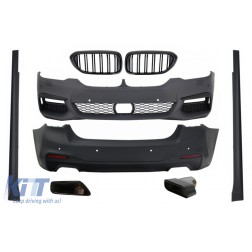 Complete Body Kit with Central Kidney Grilles Piano Black and Exhaust Muffler Tips suitable for BMW 5 Series G30 (2017-up) M-Tech Design